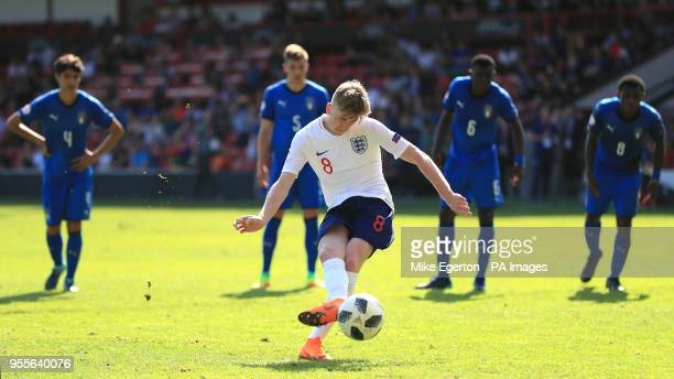 England U17's Tommy Doyle scores his side's second goal of the game during the UEFA European U17 Championship Group A match at Banks's Stadium Walsall