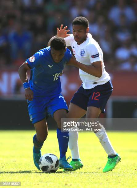 England U17's Vontae DaleyCampbell and Italy U17's Jean Freddi Pascal Greco battle for the ball during the UEFA European U17 Championship Group A...
