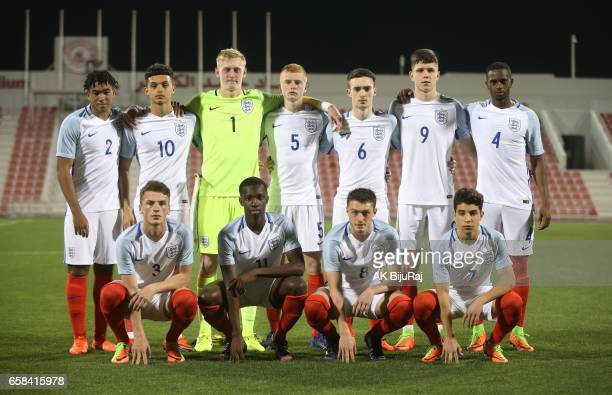 England U18 players pose for a team photo ahead of the U18 International friendly match between England and Qatar at the Grand Hamad Stadium on March...
