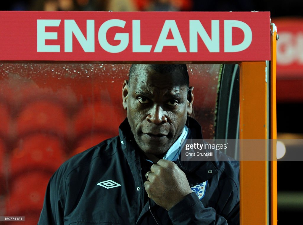 England U19 manager Noel Blake looks on during the International Match between England U19 and Denmark U19 at Keepmoat Stadium on February 5, 2013 in Doncaster, England.