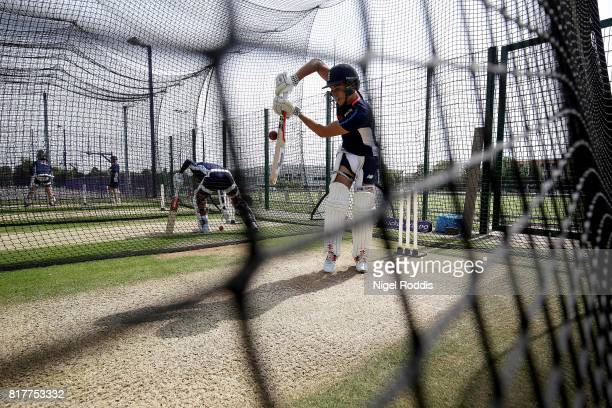 England U19 players in action during a training session at Loughborough University on July 18 2017 in Loughborough England