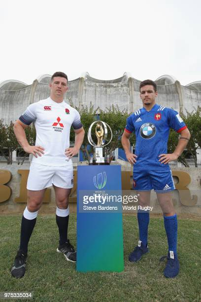 England U20 rugby captain Ben Curry and France U20 rugby captain Arthur Coville during the World Rugby U20 Championship Final Captain's photo call at...