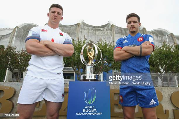 England U20 rugby captain Ben Curry and France U20 rugby captain Arthur Coville pose with the Trophy during the World Rugby U20 Championship Final...