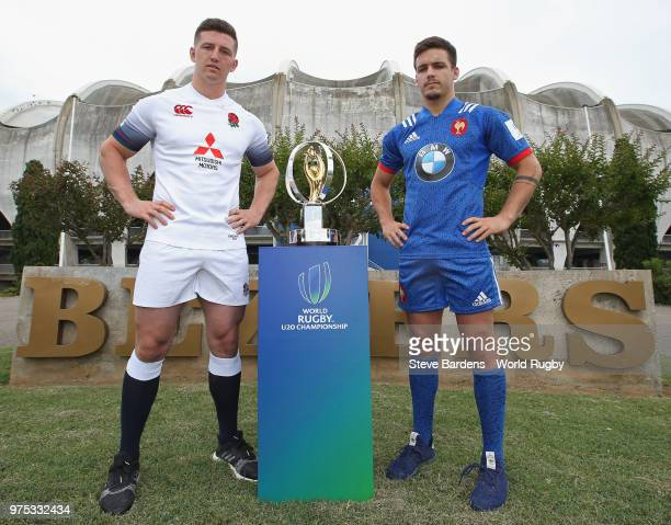 England U20 rugby captain Ben Curry poses with France U20 rugby captain Arthur Coville during the World Rugby U20 Championship Final Captain's photo...