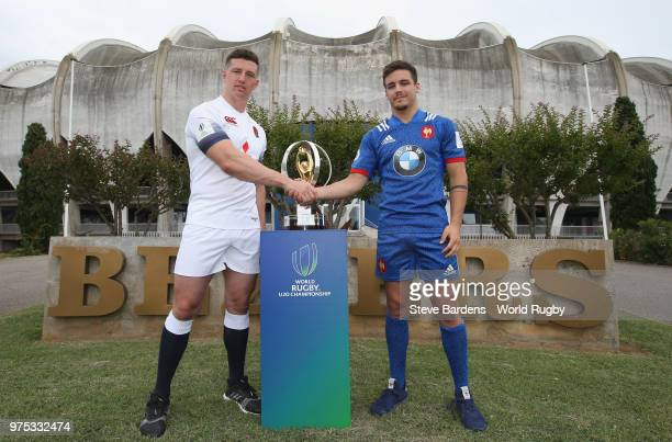 England U20 rugby captain Ben Curry shakes hands with with France U20 rugby captain Arthur Coville during the World Rugby U20 Championship Final...
