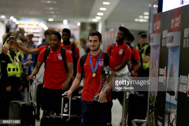 England U20's captain Lewis Cook arrives back with teamates after winning the U20's FIFA World Cup at Birmingham Airport on June 12 2017 in...