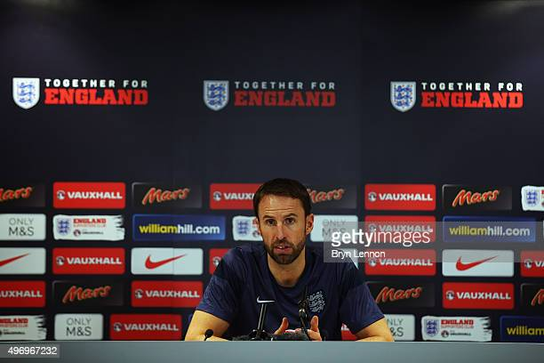 England U21 Head Coach Gareth Southgate talks to the media during an England U21 Press Conference at the American Express Elite Football Performance...
