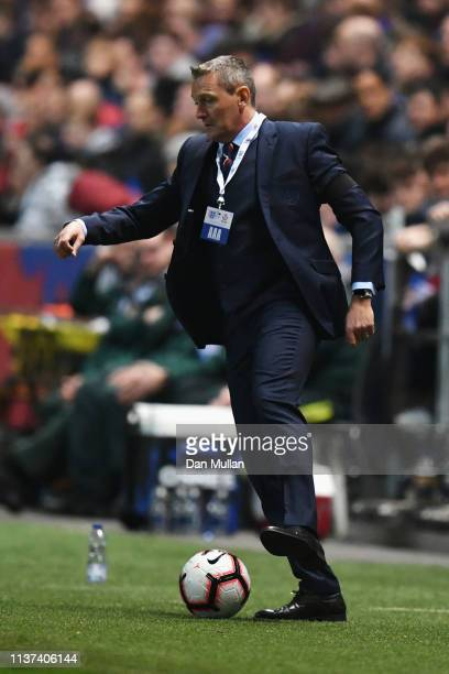 England U21 Manager Aidy Boothroyd controls the ball during the U21 International Friendly match between England and Poland at Ashton Gate on March...