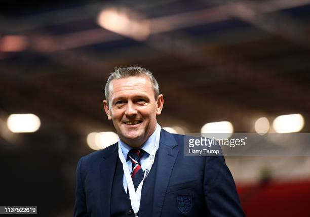 England U21 Manager Aidy Boothroyd looks on during the U21 International Friendly match between England and Poland at Ashton Gate on March 21 2019 in...