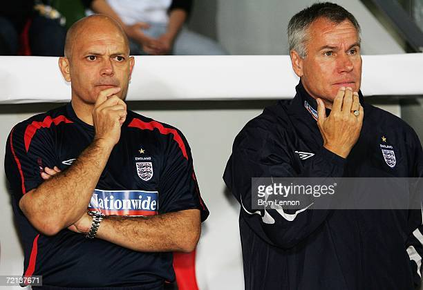 England U21 Manager Peter Taylor and Assistant Coach Ray Wilkins watch the team during the second leg of the European U21 Championship Qualifing...