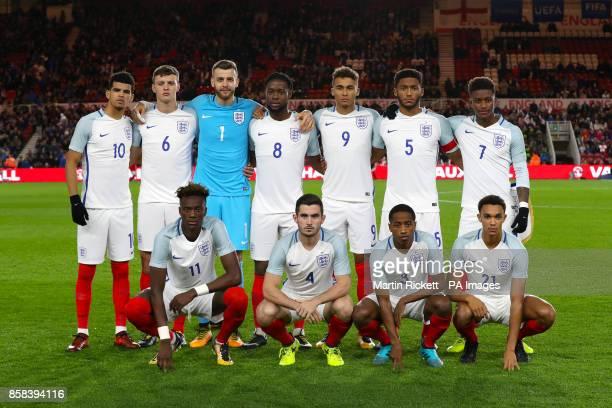 England U21 Team Group Shot Top Row Dominic Solanke Dael Fry Angus Gunn Joshua Onomah Dominic CalvertLewin Joe Gomez and Demarai Gray Front Row Tammy...