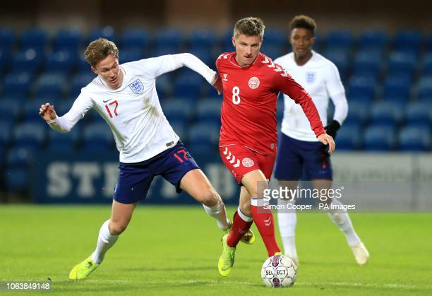 England U21's Kieran Dowell and Denmark U21's Anders Dreyer battle for the ball during the international friendly match at the Blue Water Arena...