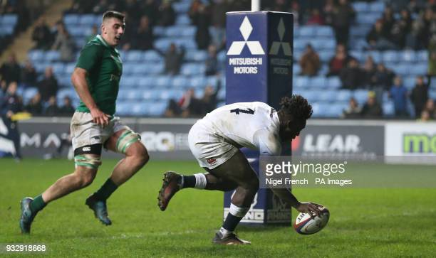 England Under 20's Gabriel Ibitoye scores a try against Ireland Under 20's during the Natwest Under 20's Six Nations match at the Ricoh Arena Coventry