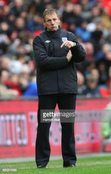 England Under21 Manager Stuart Pearce gives instructions during the UEFA Under21 Championship Group 9 Qualifying match between England and Portugal...