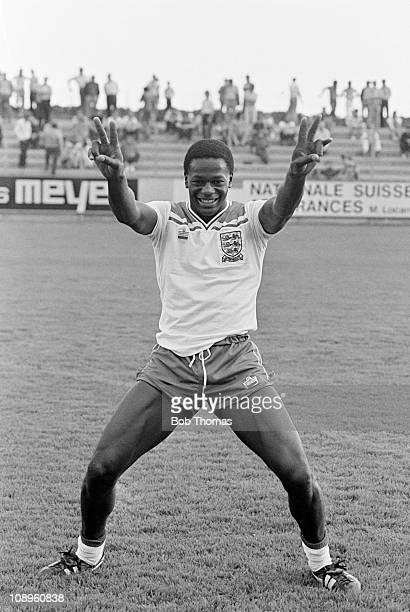 England Under21 striker Justin Fashanu posing before the UEFA Under21 Championship Qualifying match against Switzerland in Neuchatel 31st May 1981...