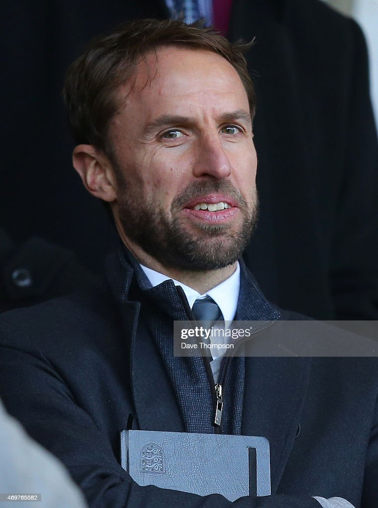 England Under-21's manager Gareth Southgate in the stands prior to the Barclays Premier League match between Burnley and Arsenal at Turf Moor on April 11, 2015 in Burnley, England.
