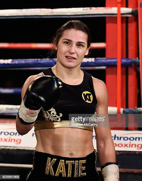England United Kingdom 26 November 2016 Katie Taylor celebrates after her SuperFeatherweight fight with Karina Kopinska at Wembley Arena in London...