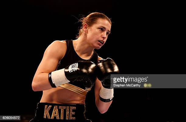 England United Kingdom 26 November 2016 Katie Taylor during her SuperFeatherweight fight with Karina Kopinska at Wembley Arena in London England