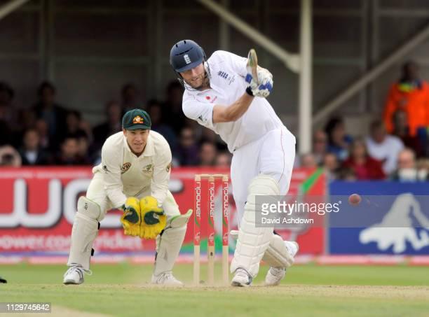 England V Australia 3rd Test Edgbaston 4th Day. 2/8/09. ANDREW FLINTOFF HIS FOUR OFF NATHAN HAURITZ.