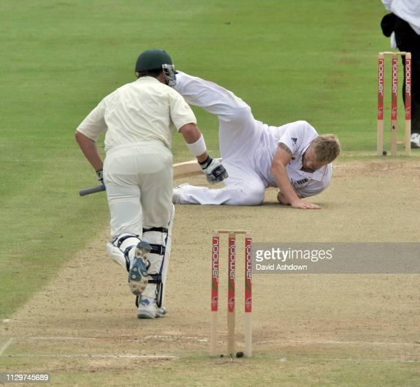 England V Australia 3rd Test Edgbaston 5th Day. 3/8/09. ANDREW FLINTOFF FALLS OVER AFTER BOWLING.