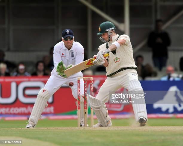 England V Australia 3rd Test Edgbaston 5th Day. 3/8/09. MICHAEL CLARK HITS FOUR OFF GRAEME SWANN.