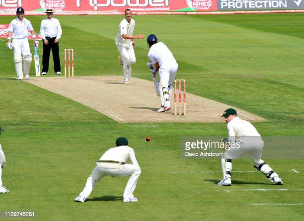 England v Australia 4th Test Headingley 1st Day. ALESTER COOK ABOUT TO BE CAUGHT BY MITCHEL CLARKE BOWLED STEWART CLARK 7/8/09.