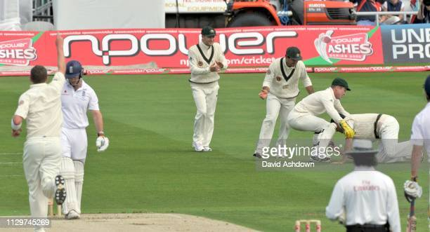 England v Australia 4th Test Headingley 1st Day. ANDREW STRAUSS OUT BOWLED PETER SIDDEL CAUGHT MARCUS NORTH. 7/8/09.