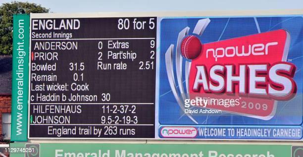 England v Australia 4th Test Headingley 2nd Day. 8/8/09. SCOREBOARD.