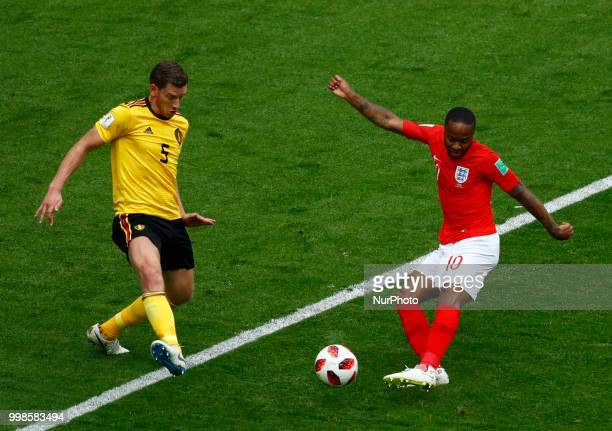 England v Belgium Play off for third place final FIFA World Cup Russia 2018 Jan Vertonghen tackles on Raheem Sterling shooting at Saint Petersburg...