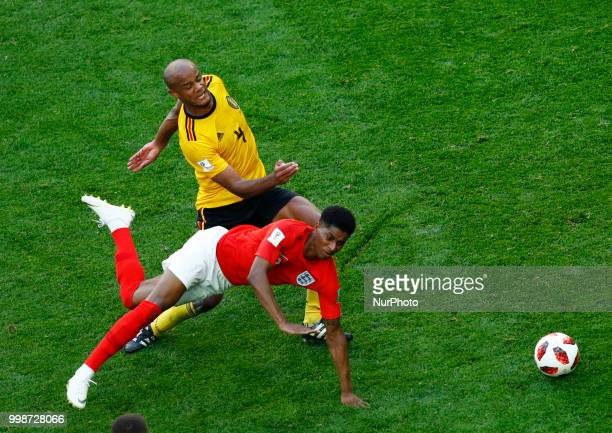 England v Belgium Play off for third place final FIFA World Cup Russia 2018 Vincent Kompany and Marcus Rashford at Saint Petersburg Stadium in Russia...