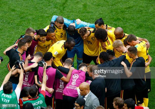 England v Belgium - Play off for third place final FIFA World Cup Russia 2018 Romelu Lukaku talking to the teammates before the match at Saint...
