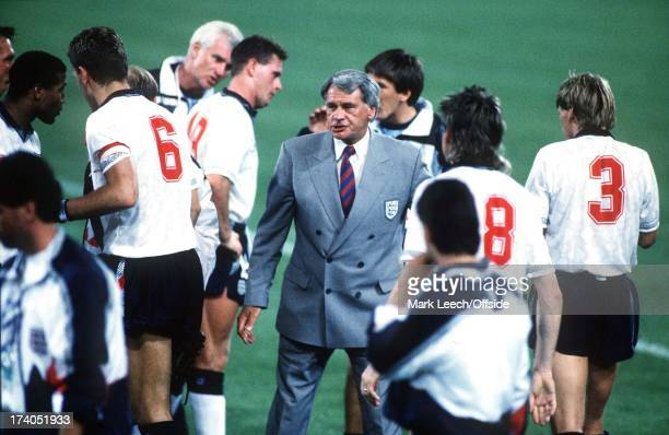 England v Belgium World Cup Second Round Bologne Manager Bobby Robson talks to team before extra time