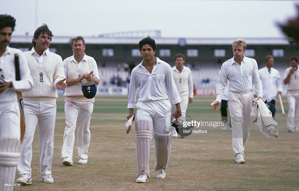 England V India in the 2nd Test at Old Trafford, August 1990. Indian cricketer Sachin Tendulkar is in the centre.