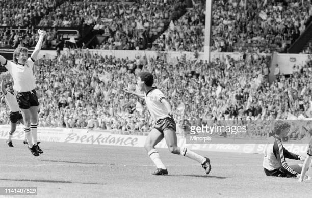 England v Netherlands Schoolboy International at Wembley Stadium, Saturday 9th June 1984. Mark Burke of Aston Villa scores a hat-trick.