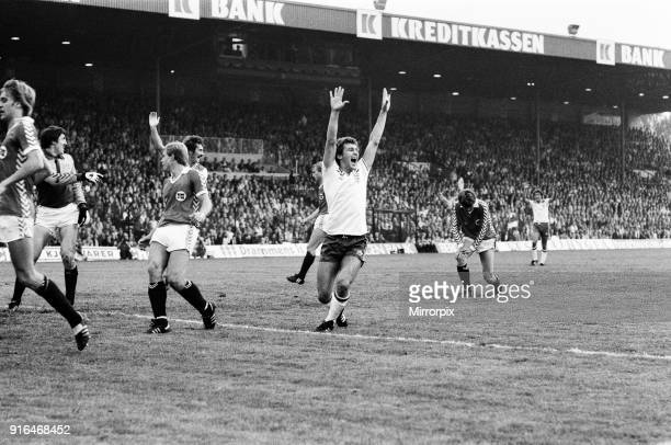 England V Norway, World Cup Qualifying match. Ullevaal Stadium in Oslo, Norway. Bryan Robson celebrates after scoring a goal, however, Norway went on...