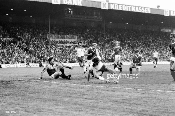England V Norway, World Cup Qualifying match. Ullevaal Stadium in Oslo, Norway. Norway won 2-1. Bryan Robson battles for the ball, 9th September 1981.