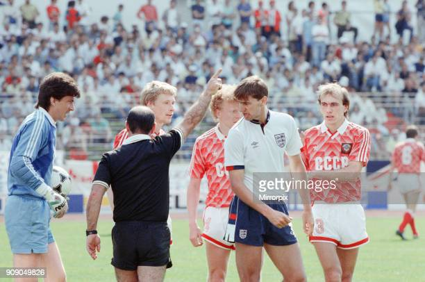 England v Soviet Union 13 1988 European Championships Hanover Germany Group Match B Tony Adams remonstrates with the referee after he awarded a free...