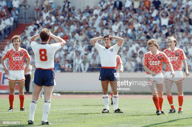 England v Soviet Union 13 1988 European Championships Hanover Germany Group Match B England's Trevor Steven and Gary Lineker cant believe a chance...