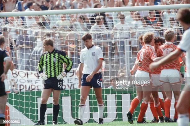 England v Soviet Union 1-3 1988 European Championships, Hanover Germany Group Match B. Soviet Union players celebrate scoring a goal, Chris Woods and...