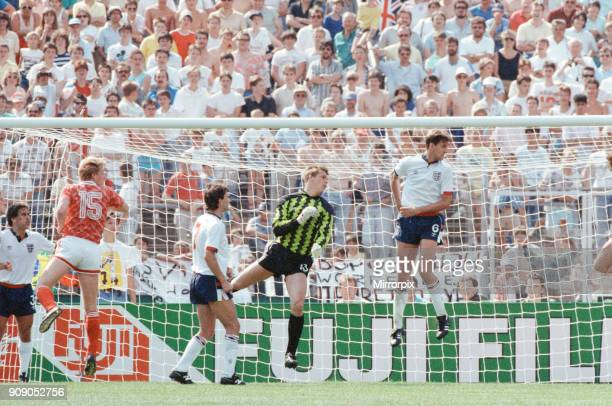 England v Soviet Union 1-3 1988 European Championships, Hanover Germany Group Match B. Goal keeper Chris Woods and Tony Adams defend the England...