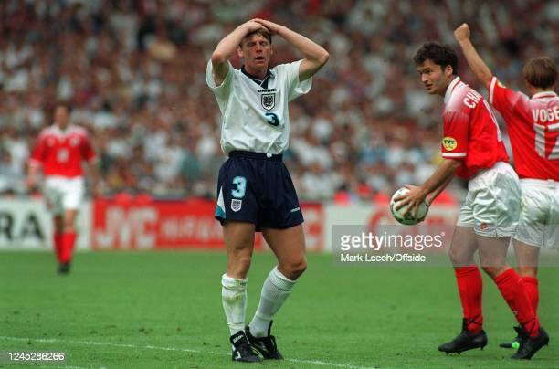 England v Switzerland. Euro 96 Pearce dejeted by penalty being given