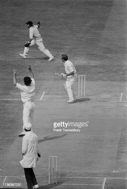 English firstclass cricketer John Edrich and Australian cricketer Dennis Lillee in action during the Fourth Test match at The Oval London UK 28th...