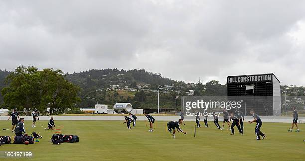 England warm up ahead of a nets session at Cobham Oval on February 2 2013 in Whangarei New Zealand