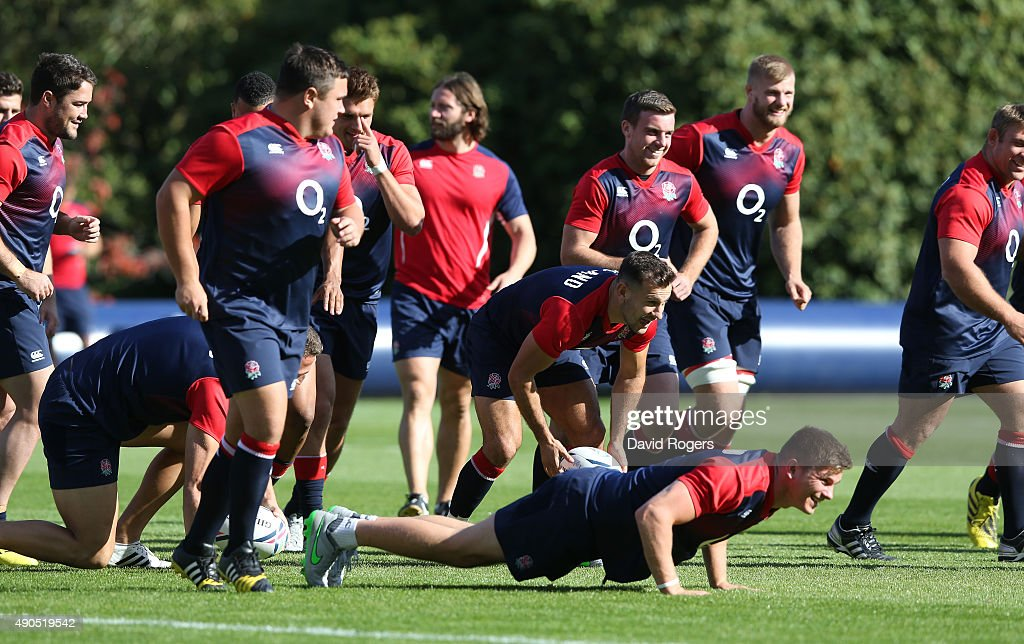 England warm up during the England training session at Pennyhill Park on September 29, 2015 in Bagshot, England.