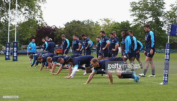 England warm up during the England training session at the Lensbury Club on May 26 2014 in Teddington England