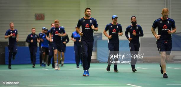 England warm up indoor ahead of a nets session at Old Trafford on August 2 2017 in Manchester England