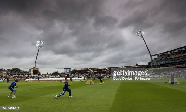 England warm up under dark clouds before the Third One Day International at Edgbaston Birmingham