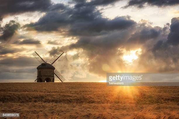 uk, england, warwickshire, chesterton, barley field with windmill - chesterton stock photos and pictures