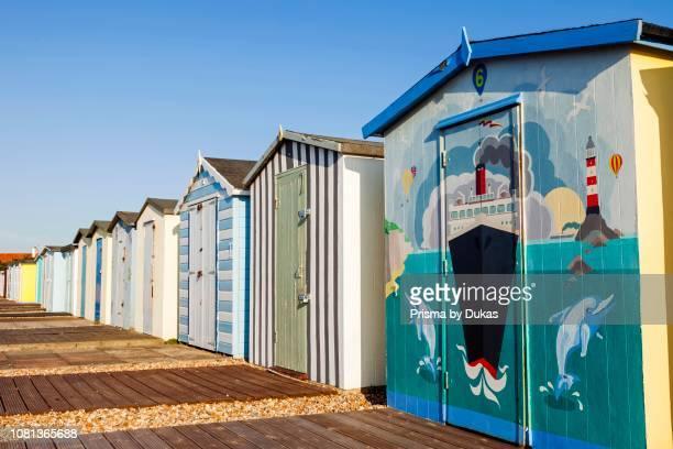 England, West Sussex, Bognor Regis, Bognor Regis Beach, Beach Huts
