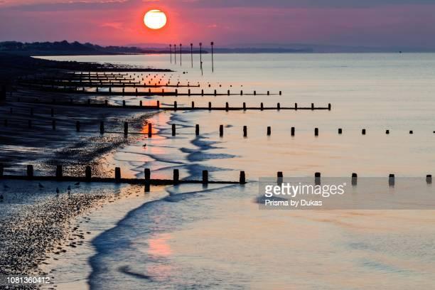 England, West Sussex, Bognor Regis, Sunrise over Bognor Regis Beach